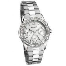 Accurist Ladies Silver Crystal Bezel Bracelet Watch 8201