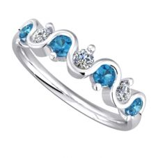 9ct White Gold Blue Topaz and Diamond Wave Half Eternity Ring 9051/9W/DQ1025BT