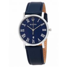Bulova Mens Blue Leather Strap Watch 96B295