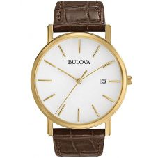 Bulova Mens Brown Leather Strap Watch 97B100