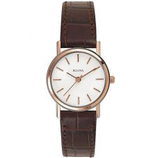 Bulova Ladies Brown Leather Strap Watch 98V31