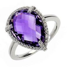9ct White Gold Amethyst Pear Cluster Ring 9DR329-AM-W