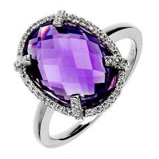 9ct White Gold Amethyst Round Cluster Ring 9DR330-AM-W
