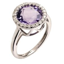 9ct White Gold Diamond Amethyst Round Cluster Ring 9DR390-AM-W