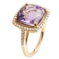 9ct Gold Diamond and Amethyst Square Shouldered Ring 9DR443-AM-Y