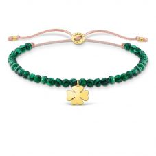 THOMAS SABO Gold Plated Cloverleaf Green Pearl Bracelet A1983-140-6-L20V
