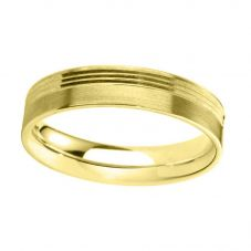 9ct Gold 5.0mm Flat Court Brushed and Bevelled Wedding Ring BFC5.0/F02 9Y-P
