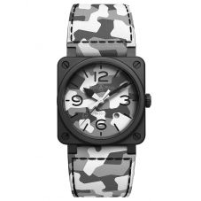 Bell & Ross Mens Limited Edition Camo Strap Watch BR03-92-CG-CE/SCA