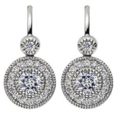 Mastercut Vintage 18ct White Gold 0.40ct Diamond Cluster Dropper Earrings C6ER002 040W