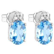 9ct White Gold Diamond Blue Topaz Oval Stud CE4843 9KW-B-TOPAZ