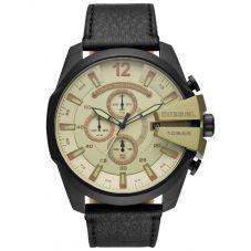 Diesel Mega Chief Black Leather Strap Watch DZ4495