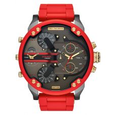 Diesel Mens Mr Daddy 2.0 Chronograph Red Rubber Strap Watch DZ7430