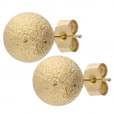 9ct Gold Large Frosted Ball Earrings E17-5137