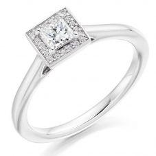 Platinum Princess-Cut Diamond Halo Engagement Ring (L) ENG3875