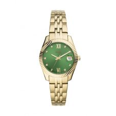 Fossil Ladies Scarlette Mini Green Dial Gold Tone Bracelet Watch ES4903