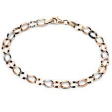 9ct Gold 3 Colour 18.5cm Oval Bracelet GB407