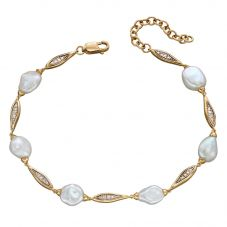 9ct Yellow Gold Diamond Keshi Pearl Bracelet GB491W