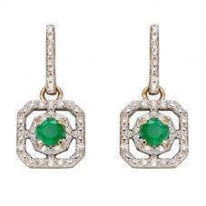 9ct Yellow Gold Emerald & Diamond Open Square Dropper Earrings GE2358G