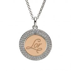 House Of Lor Silver Rose Gold Plated Inner Disc Pendant H-40024