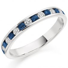 Platinum Channel-Set Diamond and Sapphire Eternity Ring (M) HET1310 BSAD