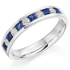 Platinum Channel-Set Diamond and Sapphire Eternity Ring (M) HET1729 BSASQRD