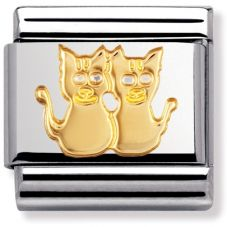 Nomination CLASSIC Gold Animals of Earth Two Cats Charm 030112/13