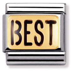 Nomination CLASSIC Gold Writings Black Best Charm 030232/02