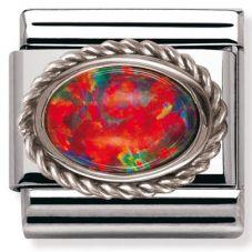 Nomination CLASSIC Silvershine Ornate Settings Red Opal Charm 330503/08
