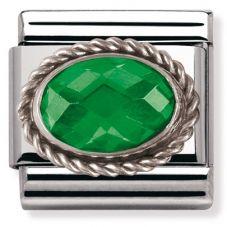 Nomination CLASSIC Silvershine Ornate Settings Oval Green Charm 330604/027