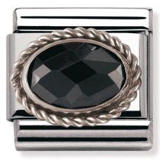 Nomination CLASSIC Silvershine Ornate Settings Oval Black Charm 330604/011