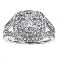 9ct White Gold 1.00ct Diamond Multi-Cluster Ring 3425WG/100-9 M