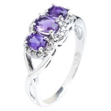 9ct White Gold Amethyst and Diamond Triple Cluster Twist Ring 51Y38WG/2-10