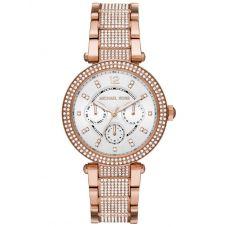 Michael Kors Ladies Parker Rose Gold Tone Crystal Watch MK6760