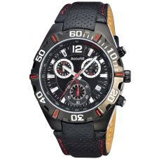 Accurist Mens London Chronograph Black Leather Strap Watch MS834BR