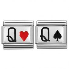 Nomination CLASSIC Silvershine Queen of Hearts & Spades Bundle