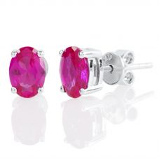 Silver July Oval 'Ruby Red' Cubic Zirconia Earrings OJS0018E-CZ-R