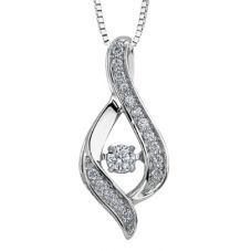 9ct White Gold 0.25ct Diamond Pulse Swirl Pendant P3070W/25-10