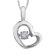 9ct White Gold 0.05ct Diamond Pulse Open Heart  Pendant P3113W/05-10