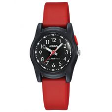 Lorus Childrens Red Rubber Strap Watch R2381MX9
