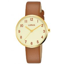 Lorus Ladies Camel Leather Strap Watch RG222SX9