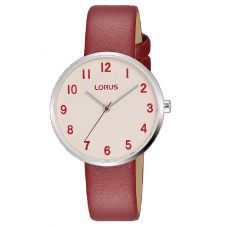 Lorus Ladies Red Leather Strap Watch RG227SX9