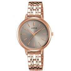 Lorus Ladies Soft Grey Dial Rose Gold Plated Bracelet Watch RG296PX9