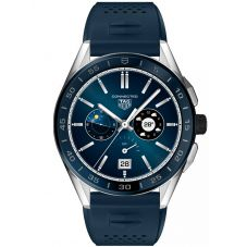 TAG Heuer Mens Connected Stainless Steel Blue Rubber Strap Watch SBG8A11.BT6220