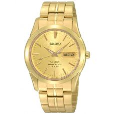 Seiko Mens Sapphire Date Dial Gold Plated Bracelet Watch SGGA62P1