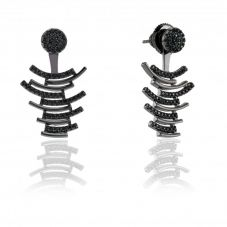 Sif Jakobs Ladies Rhodium Plated 'Fucino' Black Cubic Zirconia Ear Jackets SJ-E0696-BK(BK)