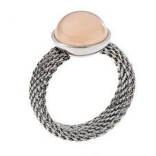 Skagen Stainless Steel Round Amber Colour Glass Mesh Ring SKJ008204R