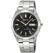 Seiko Mens Discover More Solar Black Bracelet Watch SNE039P1