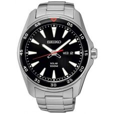 Seiko Mens Solar Black Dial Stainless Steel Bracelet Watch SNE393P1