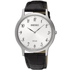 Seiko Mens Solar Stainless Steel White Dial Black Leather Strap Watch SUP863P1