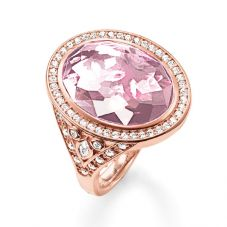 THOMAS SABO Rose Gold Oval Pink Cubic Zirconia Ring TR2022-633-9